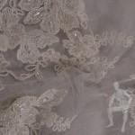Гипюровая ткань с вышивкой для свадебного платья