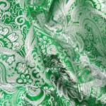 Парча зеленая с серебром